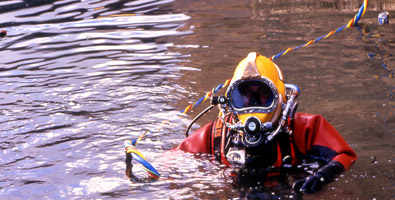 Diver using a contaminated water diving system